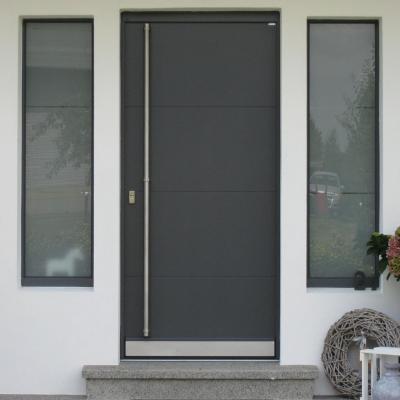 Holz Haustür mit Seitenteilen mit Sandstrahlglas / Wermelskirchen