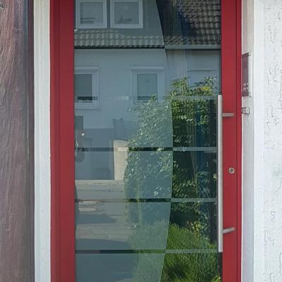 Haustür Rot mit Ganzglasfüllung / Remscheid