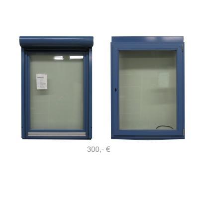 Holzfenster blau mit Vorsatzrollladen mit Funkmotor 980 x 1300 - 300€